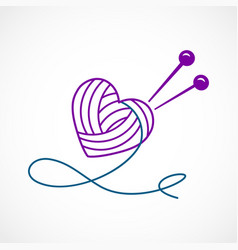 Knitting heart vector