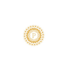 Letter p initial logo for wedding boutique luxury vector