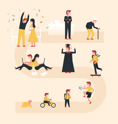 Life cycle with flat design co vector