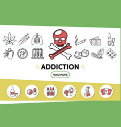 Line bad habits icons set vector
