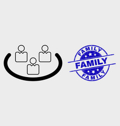 linear social ring icon and grunge family vector image