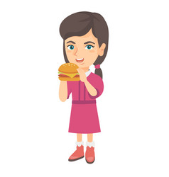 Little caucasian girl eating a hamburger vector