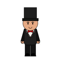 Man cartoon wearing suit with top hat icon image vector