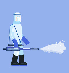 man edical scientist in chemical protection suit vector image