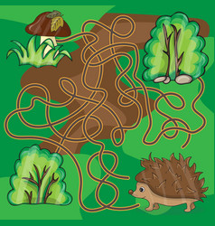 maze game help hedgehog to find a way to mushrooms vector image