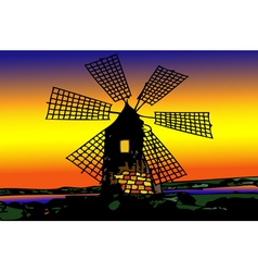 Old mill Dutch at sunset vector