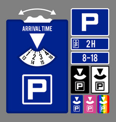 Parking clock icon set for parking time vector