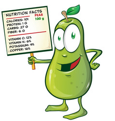 pear cartoon with nutrition facts on signboard vector image