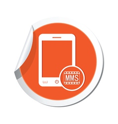phone mms icon orange sticker vector image