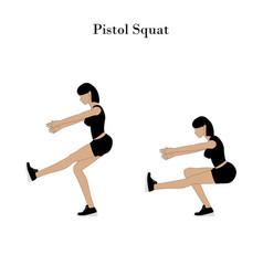 Pistol squat exercise vector