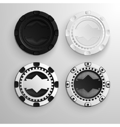 Poker black and white chips set vector image