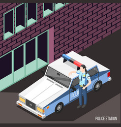 Police station isometric background vector
