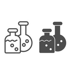 Potion flasks line and solid icon two bottles vector