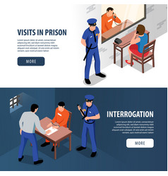 Prison isometric banners vector