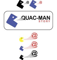 quac-man story 2 quad and ball eating at vector image