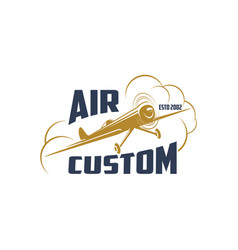 Retro airplane icon for air custom vector