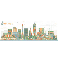 Samara russia city skyline with color buildings vector