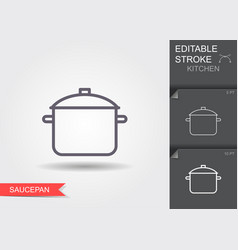 saucepan line icon with editable stroke vector image