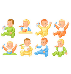Set cute little babies vector