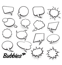 set of blank template in pop art style comic text vector image