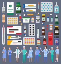 set various medications medicines pills vector image