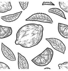 Set whole lemon slice and leaf seamless vector