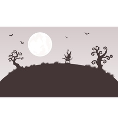 Silhouette of Halloween monster and tree vector image