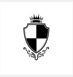 Simple vintage knight prince crown shield logo vector