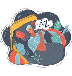 sleeping man in bed vector image