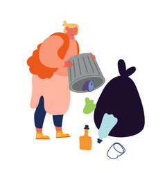 Slovenly woman throw garbage out litter bin vector