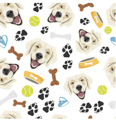 smiling dog golden retriever vector image