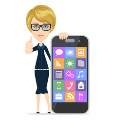 smiling woman with smartphone standing on white vector image
