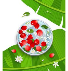 songkran festival thailand rose petals and flower vector image