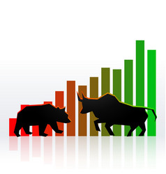 Stock market concept design with bull and bear vector