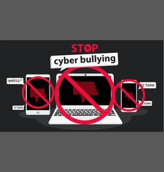 Stop cyber bullying banner graphic vector
