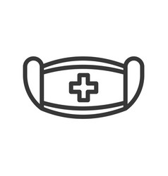 Surgical mask and cross sign simple outline icon vector