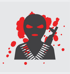 Terrorist in balaclava mask icon vector
