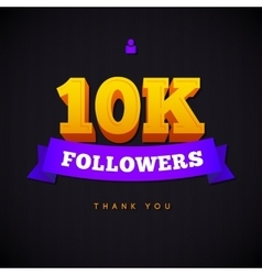 Thank you 10000 followers card thanks vector image