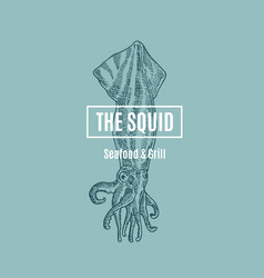 The squid seafood and grill abstract sign vector