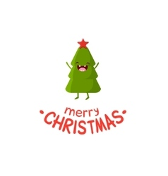Tree Cheerful Christmas card vector image