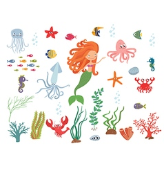 Underwater life collection vector