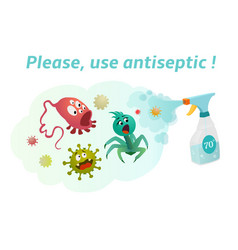 Use antiseptic with a content more than 70 vector