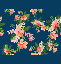 Vintage tropical flower seamless pattern vector