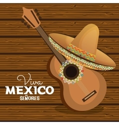 viva mexico guitar hat graphic vector image