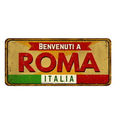 Welcome to rome in italian languagevintage rusty vector