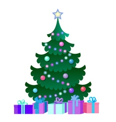with Christmas Tree and gift boxes vector image