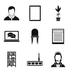 work condition icons set simple style vector image