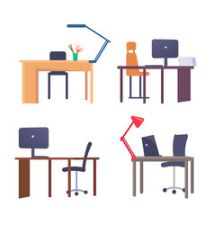 workplace tables collection vector image