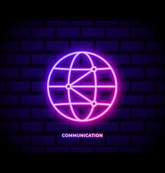 world global network icon neon color icon simple vector image