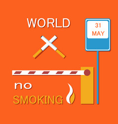 World no smoking poster with two crossed cigarette vector
